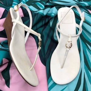 Tory Burch Emmy Demi Wedge White Leather Sandals